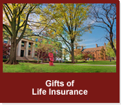 Rollover image of Pfahler Hall in the spring. Link to Gifts of Life Insurance.