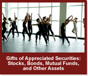 Rollover image of dancers. Link to Gifts of Appreciated Securities.