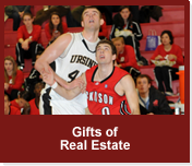 Rollover image of men's basketball players during a game. Link to Gifts of Real Estate.